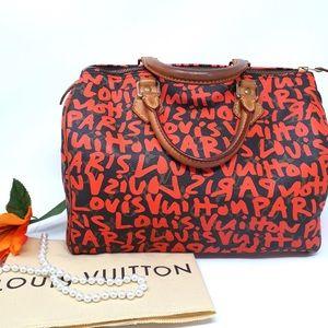 Auth Louis Vuitton Graffiti Speedy 30 Satchel Bag